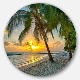 Designart 'Beach in Caribbean Island of Barbados' Modern Seascape Disc Metal Artwork