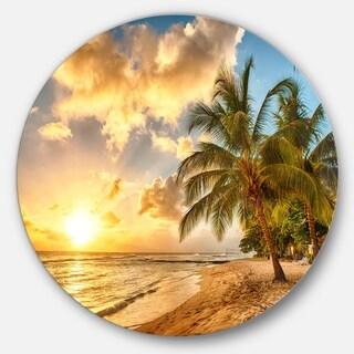 Designart 'Gorgeous Beach of Island Barbados' Modern Seascape Circle Wall Art