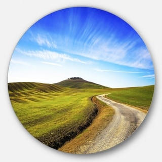 Designart 'Rural Road and Olive Trees Uphill' Landscape Round Wall Art