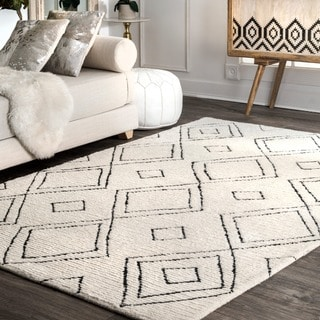 Link to nuLOOM Ivory Handmade Soft & Plush Boho Chic Tribal Diamond Tassel Shag Rug Similar Items in Shag Rugs