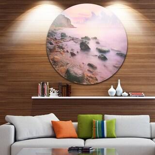 Designart 'Colorful Sunset over the Sea' Seashore Round Wall Art