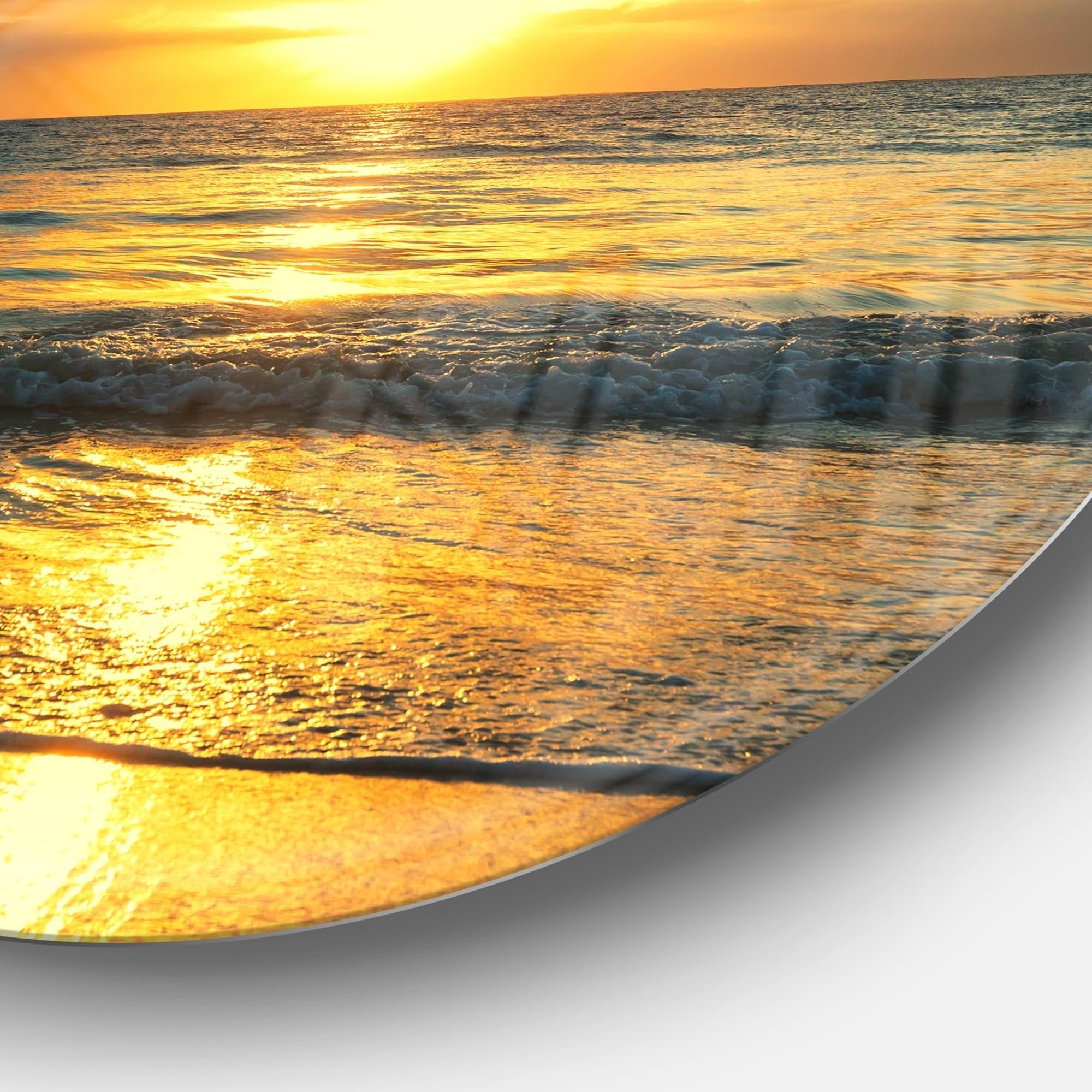 Designart Exotic Water And Sky Sunset Panorama Modern Seashore Round Metal Wall Art Overstock 14250614