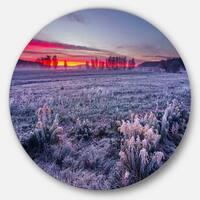 Designart 'Colorful Cold Frosty Morning' Landscape Disc Metal Artwork