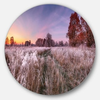Designart 'Frosty Fall Trees with Red Leaves' Landscape Round Metal Wall Art