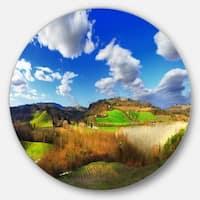 Designart 'Spectacular Toscana Panorama' Landscape Disc Metal Wall Art