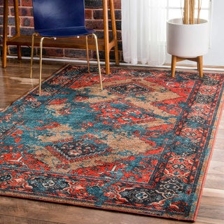 nuLOOM Traditional Inspired Overdyed Tribal Diamond Rug (6'7 x 9')