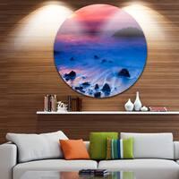 Designart 'Bright Colorful Rocky Coast Panorama' Seashore Round Metal Wall Art