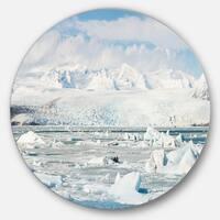 Designart 'Vatnajokull Glacier in Iceland' Landscape Large Disc Metal Wall art