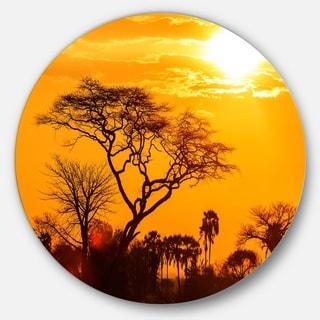 Designart 'Orange Glow of African Sunset' Circle Wall Art Landscape