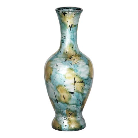 Light Blue Green Long Neck Amphora Heart Vase