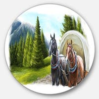 Designart 'Road in Mountains with Horses' Landscape Circle Wall Art