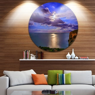 Designart 'Moon Reflecting in Blue Sea' Modern Seascape Large Disc Metal Wall art