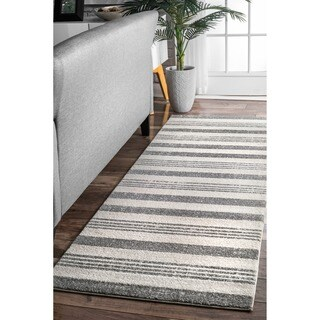 nuLOOM Power-Loomed Geometrice Stripes Grey Runner Rug (2'8 x 8')