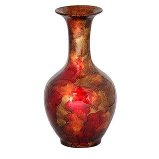 Red/ Copper Long Neck Trumpet Decantor Vase