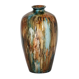 Green-teal/ Copper Bud Water Jar Vase