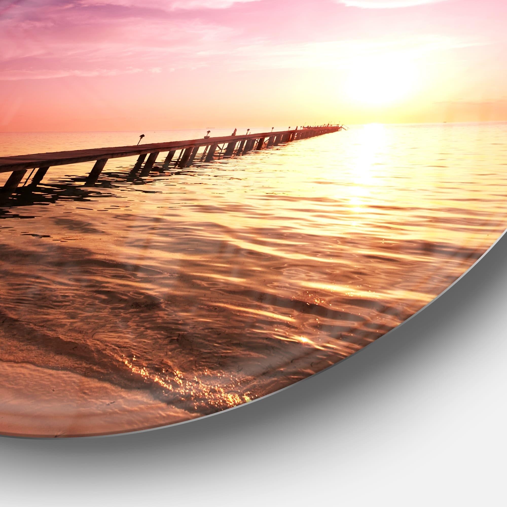 Designart Long Boardwalk Into Sunset Sea Sea Bridge Circle Wall Art Overstock 14250796