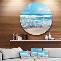 Designart 'Indian Ocean Panoramic View' Seashore Large Disc Metal Wall art
