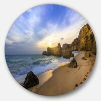 Designart 'Beautiful Sunset over Algarve Portugal' Seashore Round Wall Art