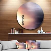 Designart 'Lonely Tree and Birds Panorama' Round Metal Wall Art Landscape