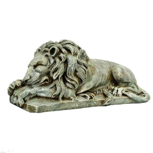 Shop 31 Inch Tan Laying Lion Statue Overstock 14250877