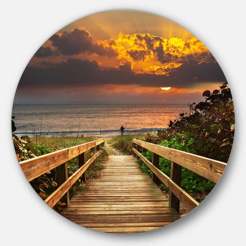 Designart 'Long Wooden Stairs into the Sea' Sea Bridge Disc Metal Artwork
