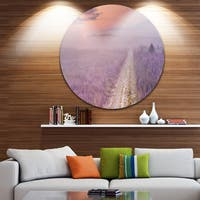 Designart 'Path through Blooming Heather' Landscape Circle Wall Art