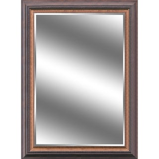 Reflection 44-inch x 60-inch x 1-inch Beveled Mirror with 5-inch Warm Brown and Bronze Frame