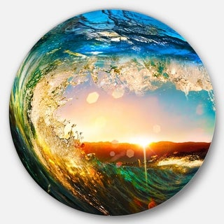 Designart 'Colored Ocean Waves Falling Down' Modern Seashore Disc Metal Wall Art