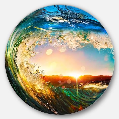 Designart 'Colored Ocean Waves Falling Down' Modern Seashore Disc Metal Wall Art