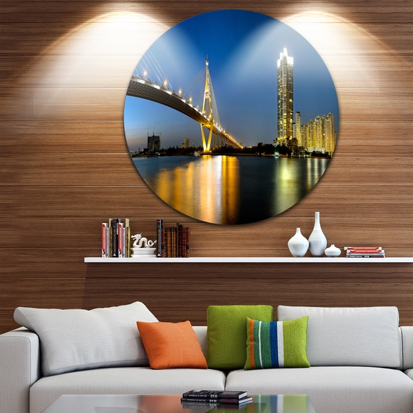 Designart 'Lit-up Bhumibol Bridge at Dusk' Cityscape Round Wall Art