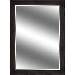 Reflection Dark Bronze and Woodgrain Beveled Mirror