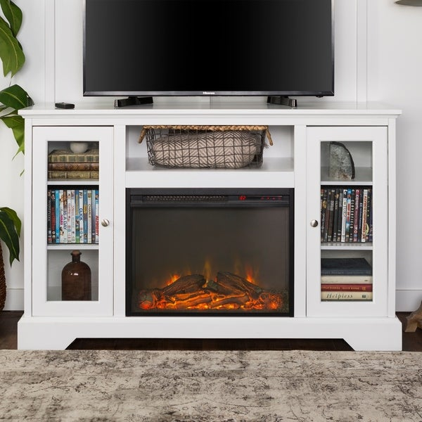 Shop 52 Inch Highboy Fireplace Wood Tv Stand Console