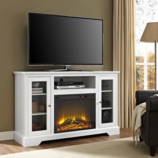 "52"" Highboy Fireplace Wood TV Stand Console - White - Free ..."