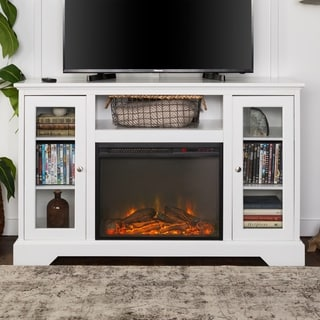 "52"" Highboy Fireplace Wood TV Stand Console - White"