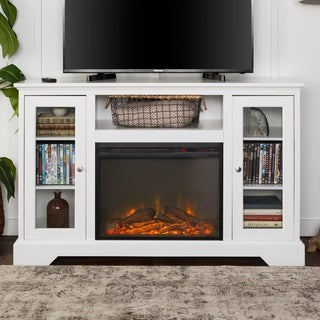 52-inch Highboy Fireplace Wood TV Stand Console - White