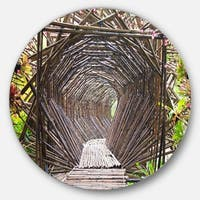 Designart 'Bamboo Tunnel in the Garden' Landscape Disc Metal Artwork