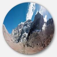 Designart 'Trekking to Plaza Francia Panorama' Landscape Disc Metal Artwork