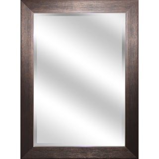 Reflection 31-inch x 43-inch x 1-inch Bevel Mirror with Bronze Wood Grain Color Frame