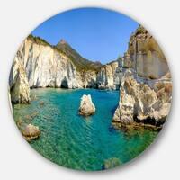 Designart 'Turquoise Water Beach Panorama' Seashore Round Metal Wall Art