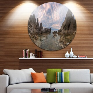 Designart 'Rocky Beach East Sea on Overcast Day' Landscape Circle Wall Art