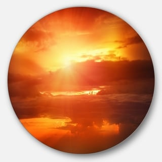 Designart 'Yellow Sunset above Clouds' Beach Disc Metal Wall Art