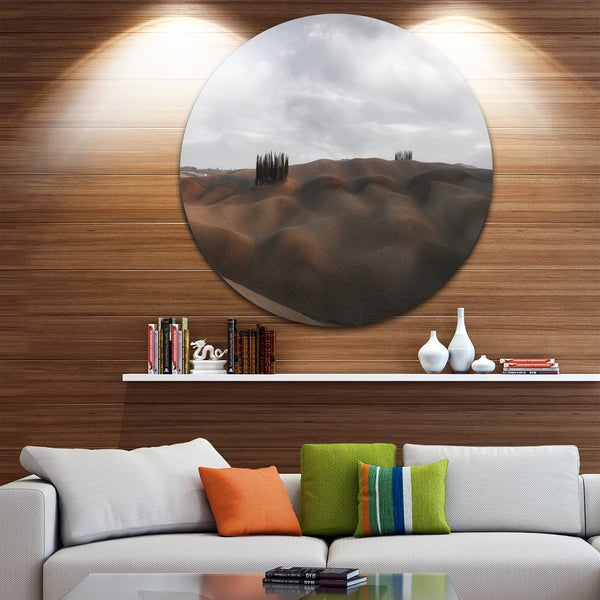 Designart 'Cypress Grove at the Field Panorama' Landscape Round Wall Art