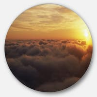 Designart 'Yellow Sunrise above Clouds' Large Disc Metal Wall art Landscape