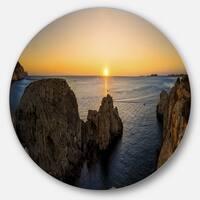 Designart 'Ibiza Island Mediterranean Sunset' Landscape Circle Wall Art