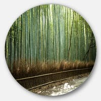Designart 'Beautiful View of Bamboo Forest' Forest Round Metal Wall Art