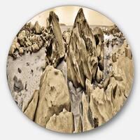 Designart 'Rocky Praslin Seychelles Panorama' Landscape Large Disc Metal Wall art