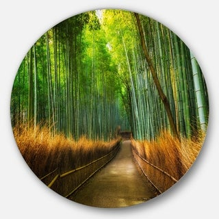 Designart 'Arashiyama Bamboo Grove Japan' Forest Large Disc Metal Wall art