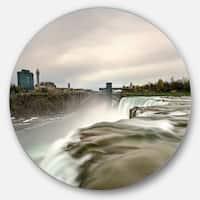 Designart 'Niagara Falls Goat Island View' Beach Disc Metal Artwork