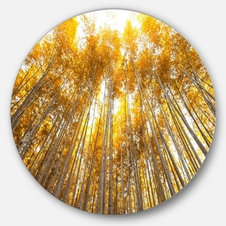 Designart 'Autumn Bamboo Grove in Yellow' Forest Round Wall Art