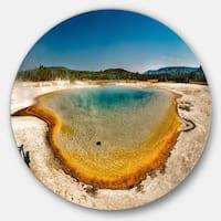 Designart 'Yellowstone Heat Pool Panorama' Landscape Disc Metal Wall Art